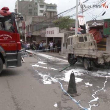 รถบรรทุกถังออกซิเจนเสียหลักชนเสาไฟฟ้า ก่อนพุ่งชนร้านอาหารในจีน