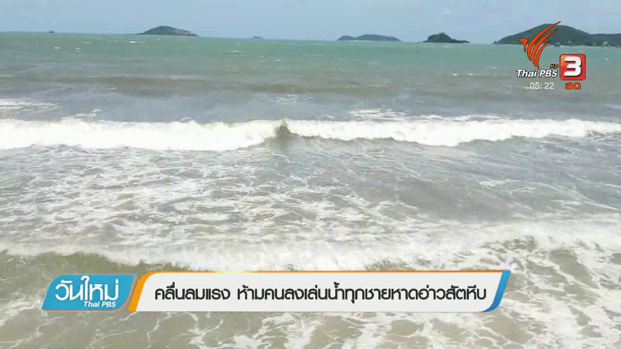 วันใหม่  ไทยพีบีเอส - คลื่นลมแรง ห้ามคนลงเล่นน้ำทุกชายหาดอ่าวสัตหีบ