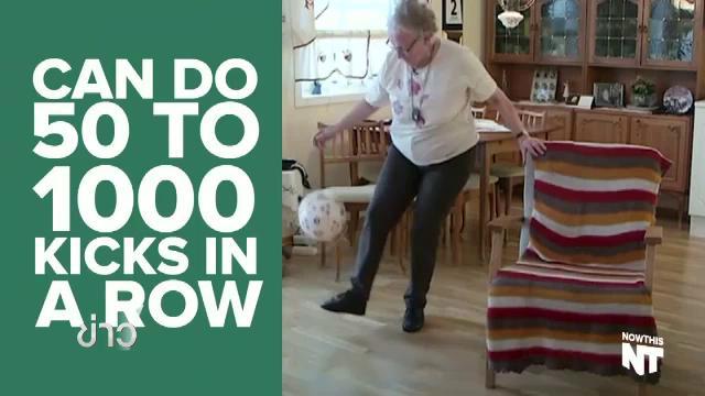 คุณยายชาวนอร์เวย์ วัย 90 ปี โชว์ทักษะการเดาะบอล