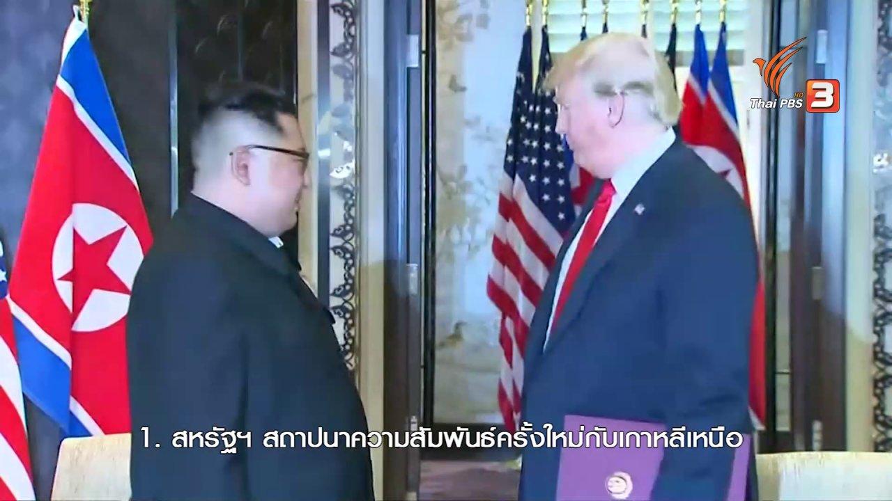 ข่าวเจาะย่อโลก - แถลงการณ์ร่วมผู้นำสหรัฐฯ-เกาหลีเหนือ เดินหน้าปลดอาวุธนิวเคลียร์