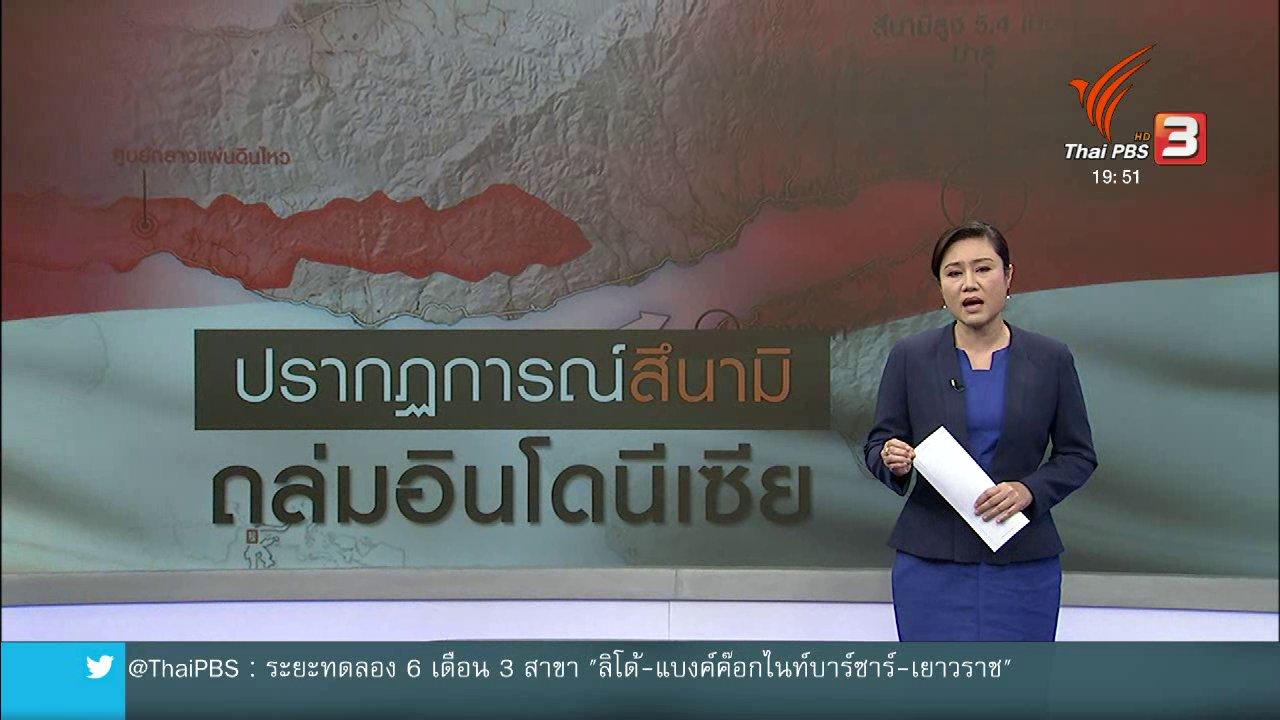 ข่าวค่ำ มิติใหม่ทั่วไทย - วิเคราะห์สถานการณ์ต่างประเทศ : ปรากฏการณ์คลื่นสึนามิ ถล่มอินโดนีเซีย