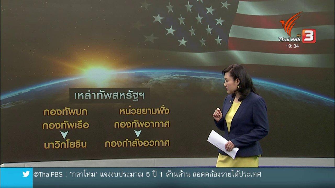 ข่าวค่ำ มิติใหม่ทั่วไทย - วิเคราะห์สถานการณ์ต่างประเทศ : สหรัฐฯ เตรียมตั้งกองกำลังอวกาศ