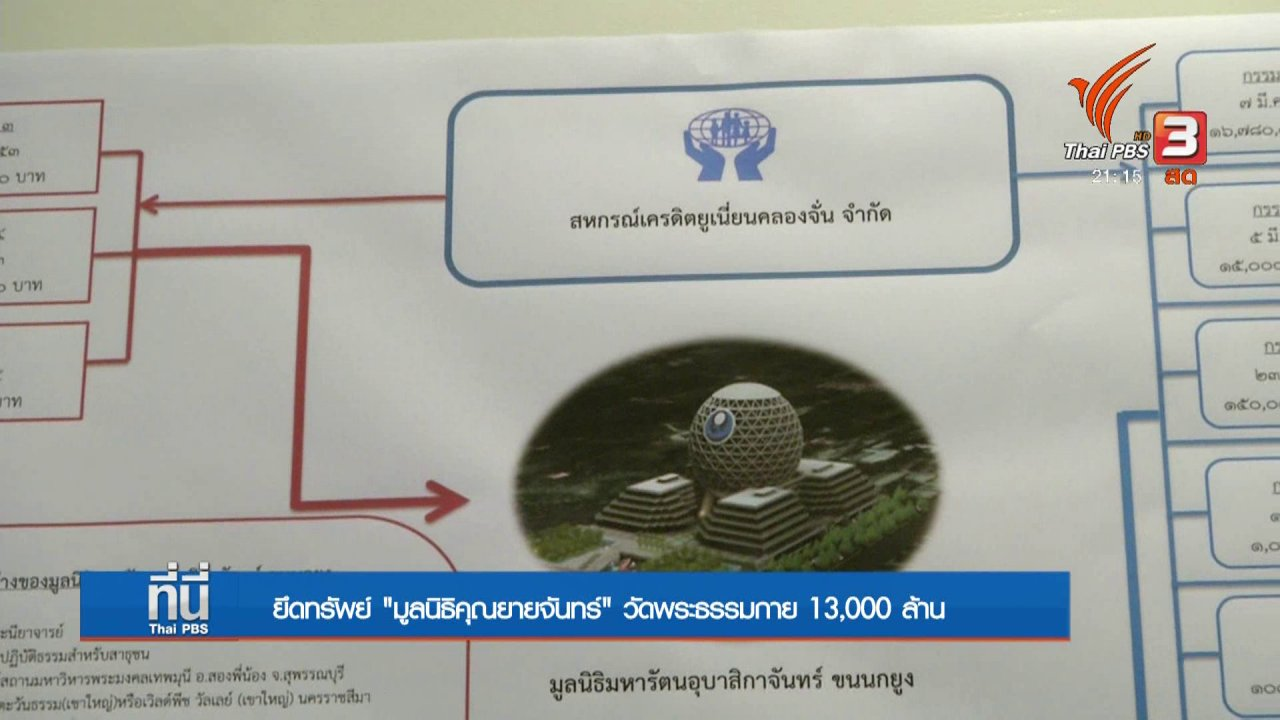 ที่นี่ Thai PBS - เสนอยึดทรัพย์มูลนิธิคุณยายจันทร์ 13,000 ล้านบาท