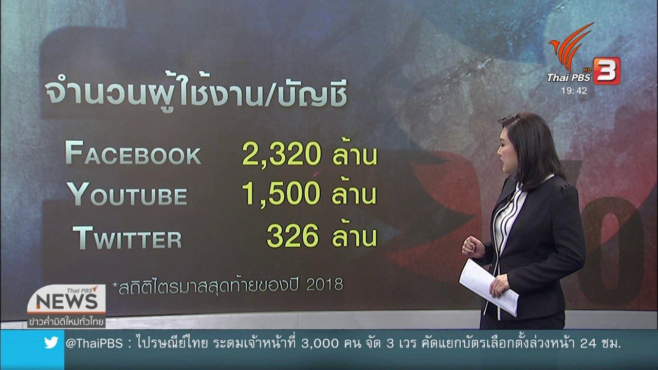 ข่าวค่ำ มิติใหม่ทั่วไทย - วิเคราะห์สถานการณ์ต่างประเทศ : เฟซบุ๊กถูกกดดัน หลังเป็นช่องทางเผยแพร่ความรุนแรง