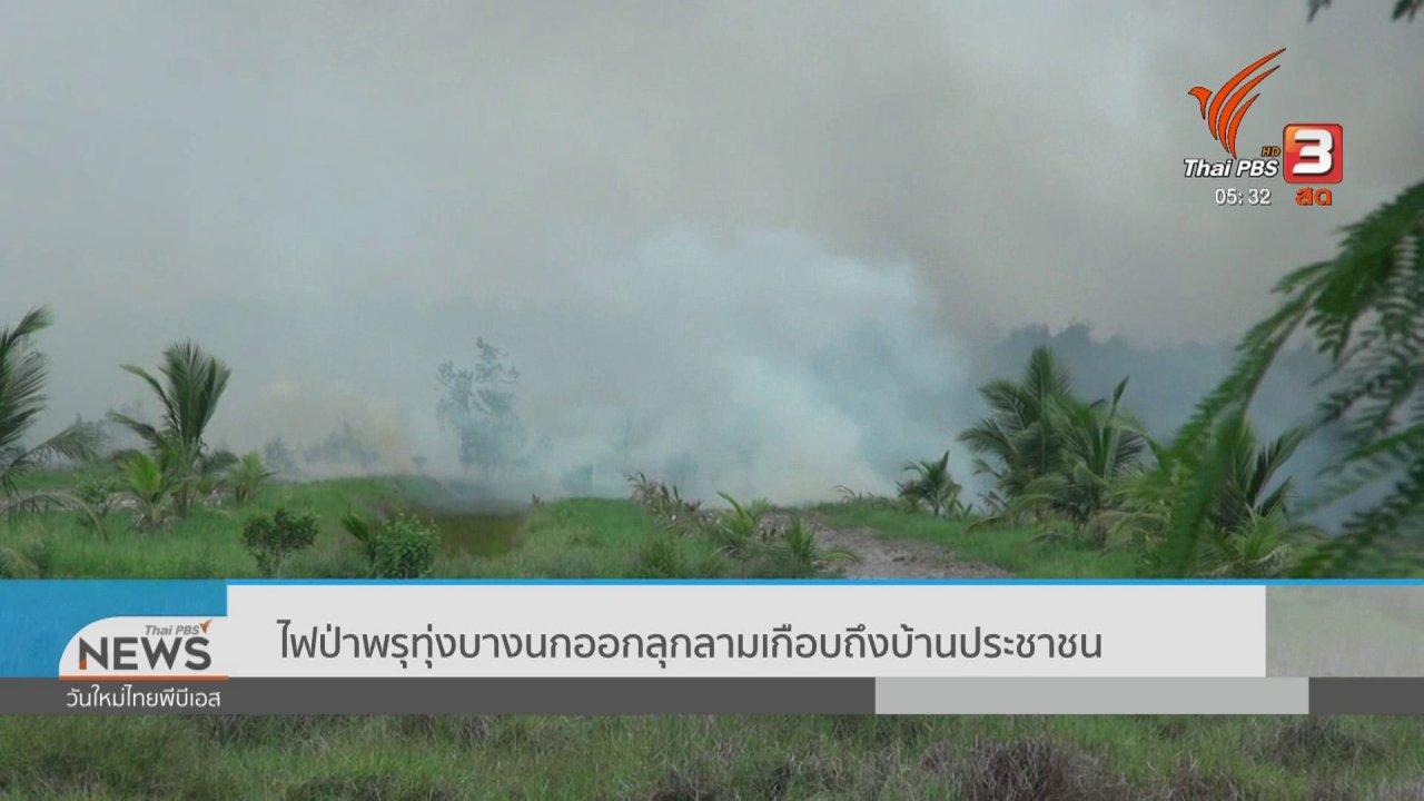 วันใหม่  ไทยพีบีเอส - ไฟป่าพรุทุ่งบางนกออกลุกลามเกือบถึงบ้านประชาชน