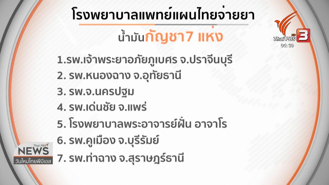 วันใหม่  ไทยพีบีเอส - เริ่มแจกจ่ายยากัญชาทางการแพทย์ใน 19 โรงพยาบาลวันนี้ (19 ส.ค. 62)