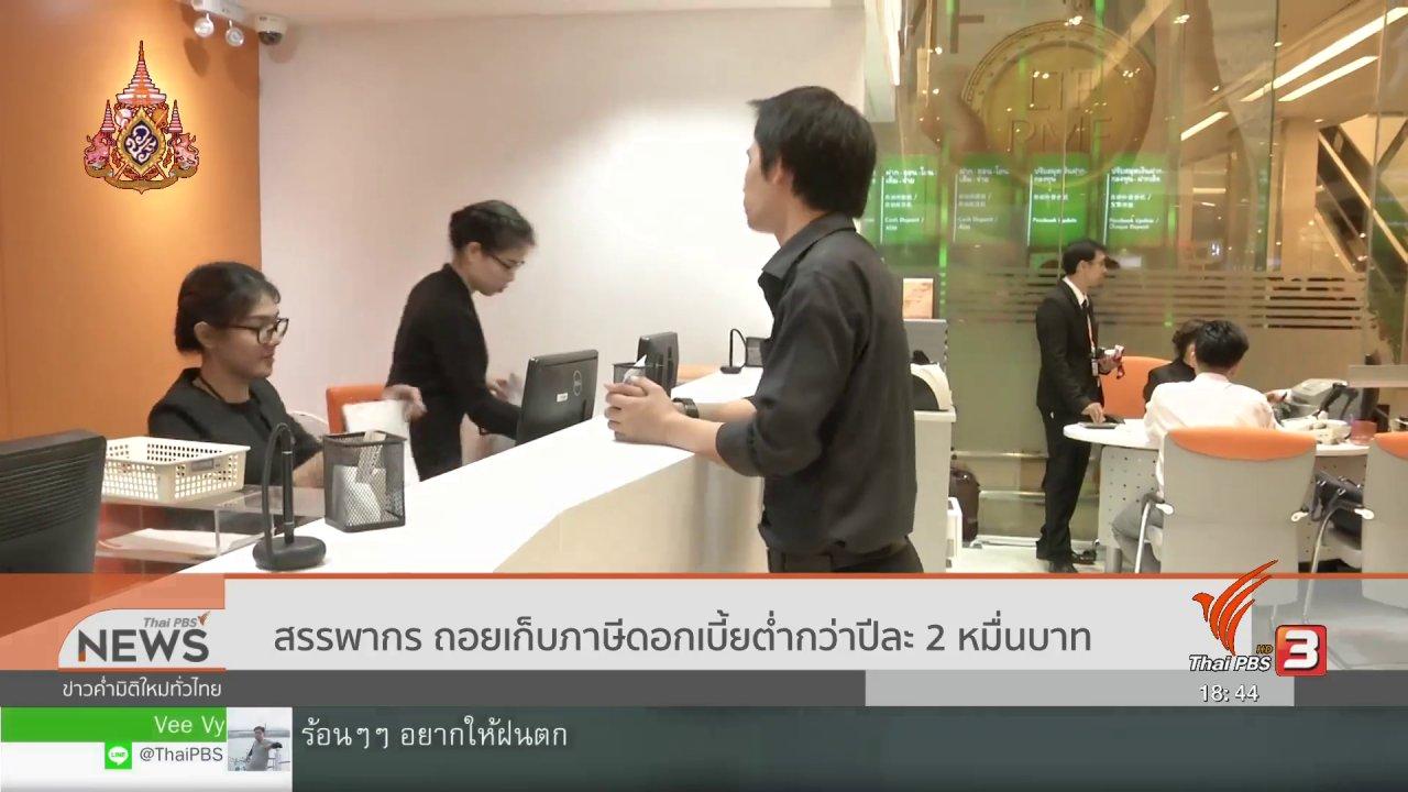 ข่าวค่ำ มิติใหม่ทั่วไทย - สรรพากร ถอยเก็บภาษีดอกเบี้ยต่ำกว่าปีละ 20,000 บาท