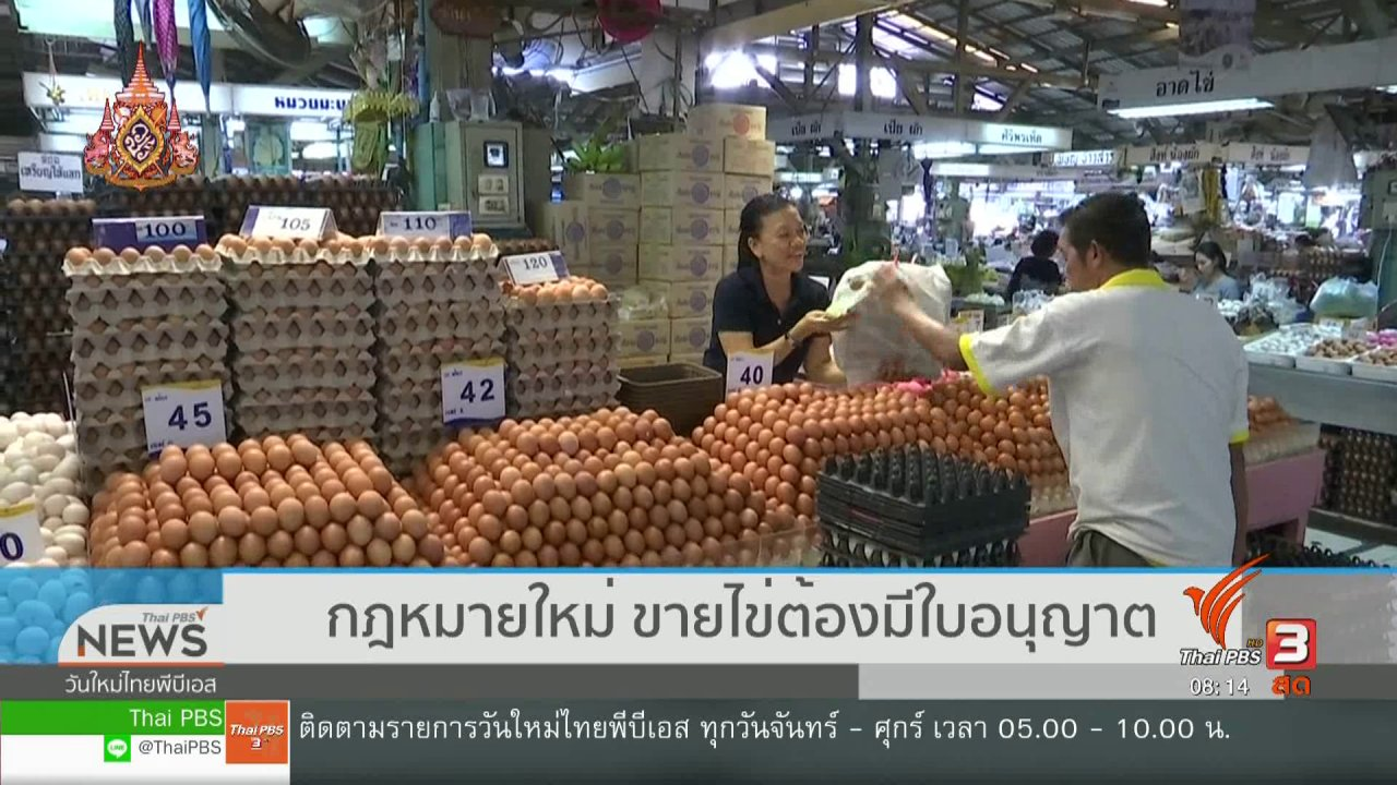 วันใหม่  ไทยพีบีเอส - จับตาข่าวเด่น : กฎหมายใหม่ ขายไข่ต้องมีใบอนุญาต