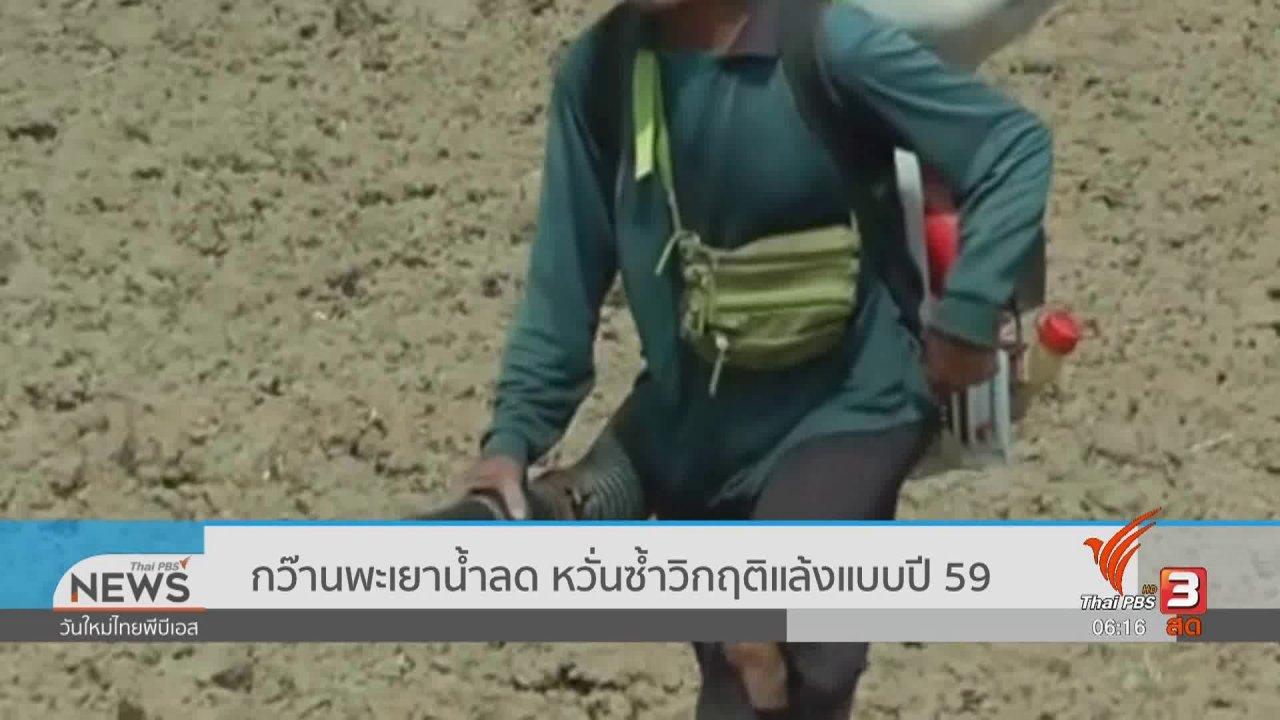 วันใหม่  ไทยพีบีเอส - กว๊านพะเยาน้ำลด หวั่นซ้ำวิกฤติแล้งแบบปี 59