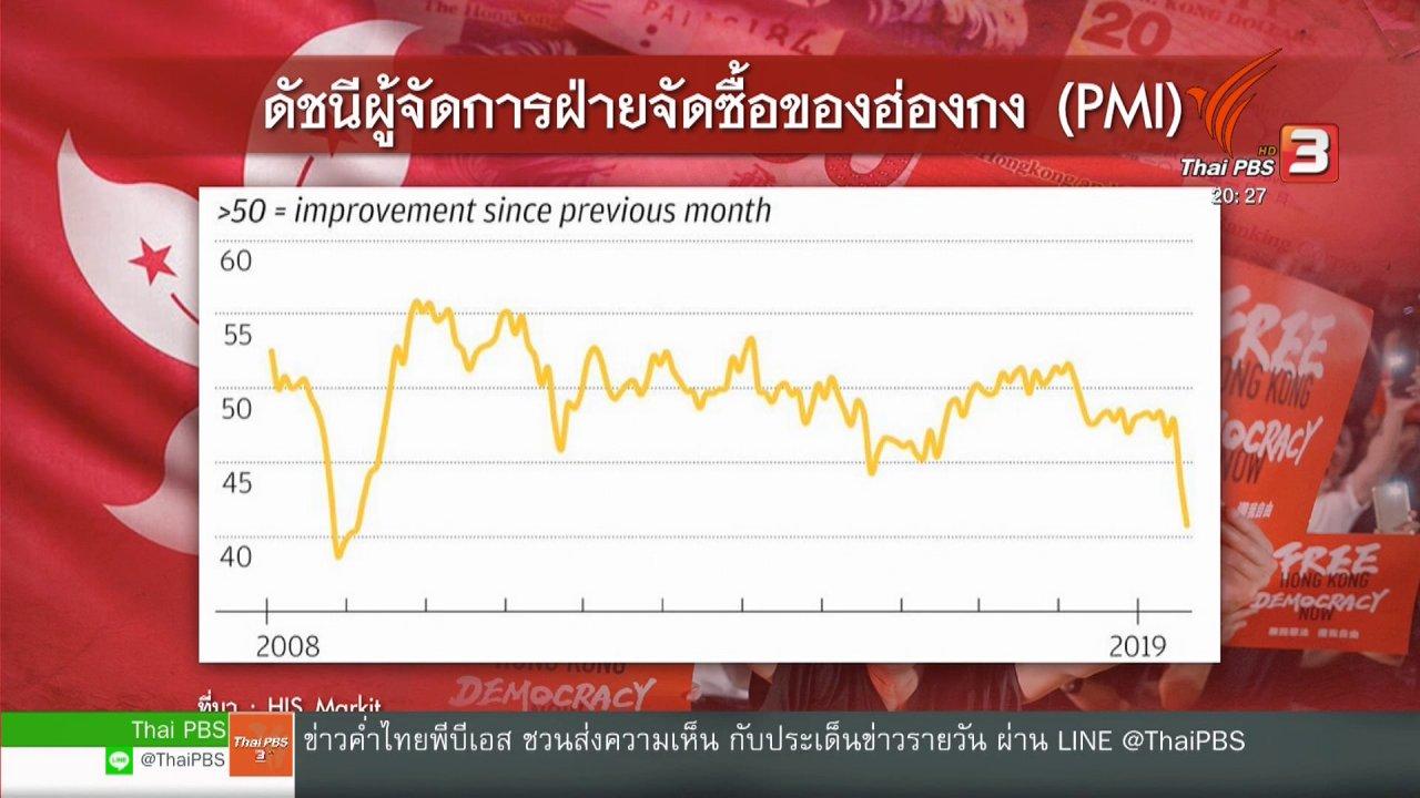 ข่าวค่ำ มิติใหม่ทั่วไทย - วิเคราะห์สถานการณ์ต่างประเทศ : ประท้วงยืดเยื้อซ้ำเติมเศรษฐกิจฮ่องกงสู่ภาวะถดถอย