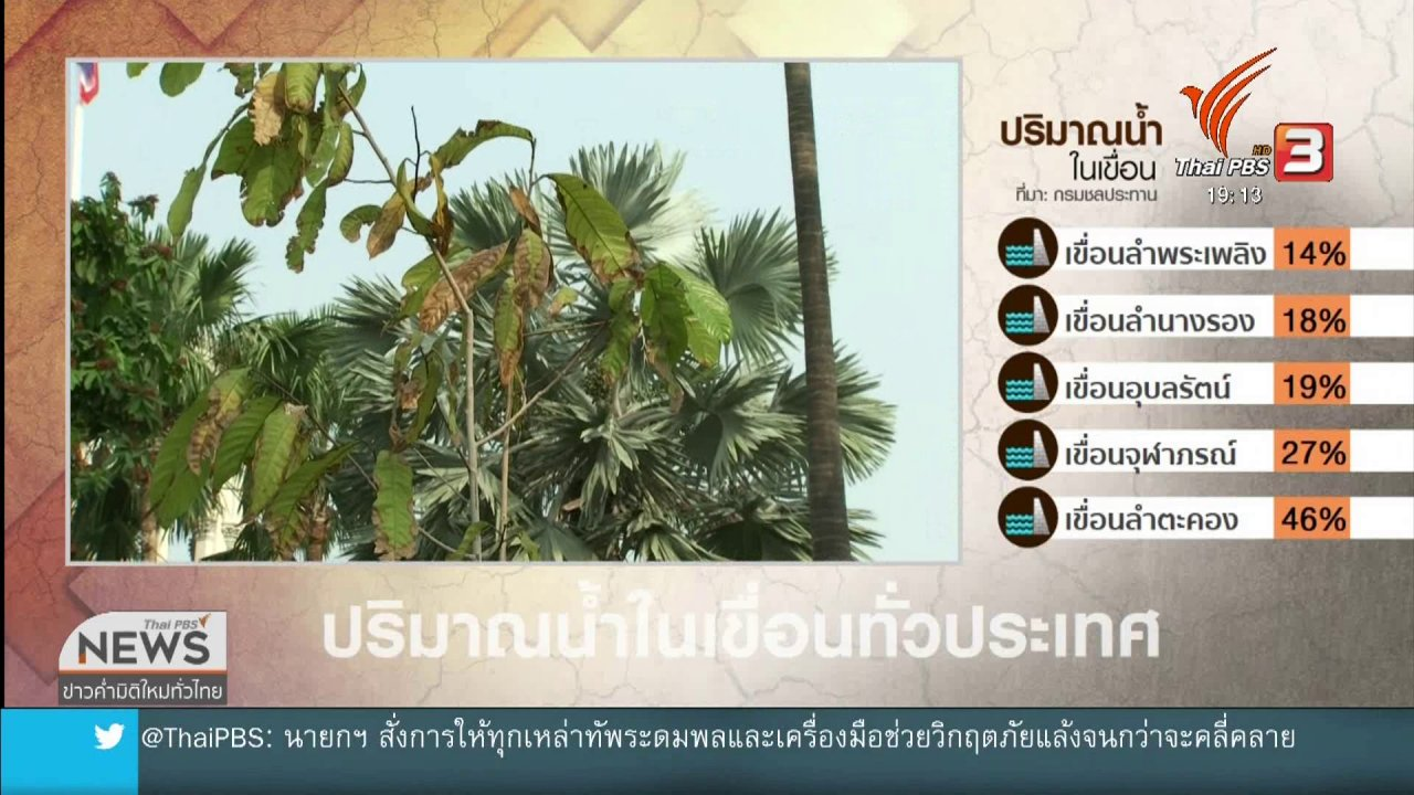 ข่าวค่ำ มิติใหม่ทั่วไทย - น้ำประปากร่อย ต้นไม้ทำเนียบรัฐบาลเหี่ยวเฉา