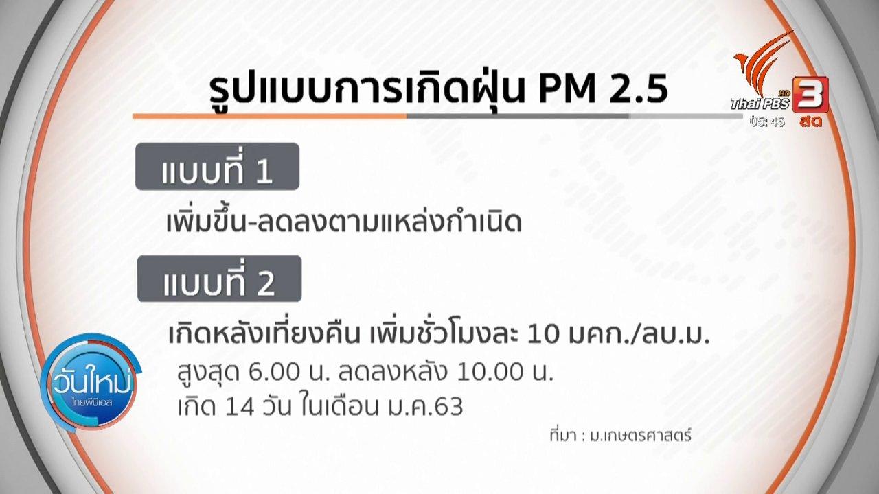 วันใหม่  ไทยพีบีเอส - ต้นตอการเกิดฝุ่น PM2.5 พบ 3 รูปแบบ