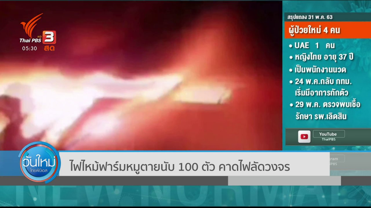 วันใหม่  ไทยพีบีเอส - ไฟไหม้ฟาร์มหมูตายนับ 100 ตัว คาดไฟลัดวงจร