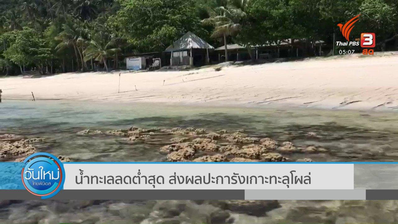 วันใหม่  ไทยพีบีเอส - น้ำทะเลลดต่ำสุด ส่งผลปะการังเกาะทะลุโผล่