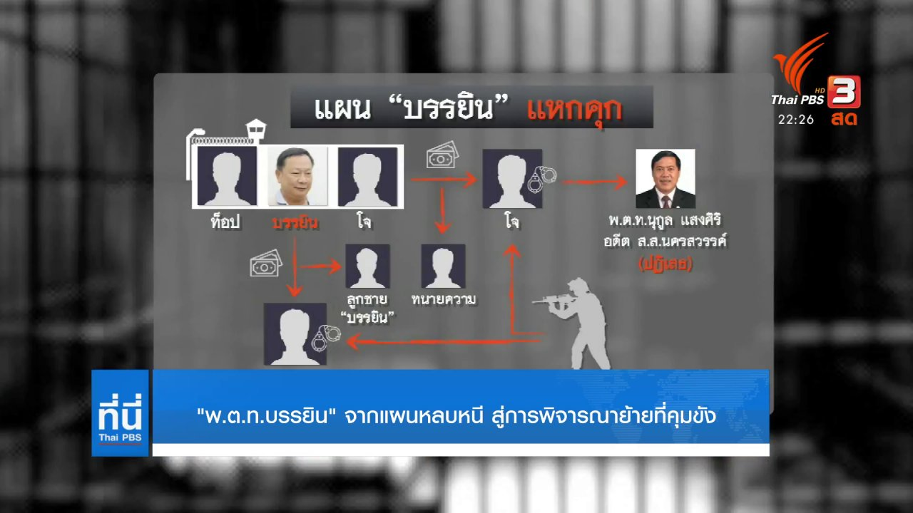 """ที่นี่ Thai PBS - """"พ.ต.ท.บรรยิน"""" จากแผนหลบหนี สู่การพิจารณาย้ายที่คุมขัง"""