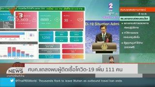 ข่าวค่ำ มิติใหม่ทั่วไทย ศบค.แถลงพบผู้ติดเชื้อโควิด-19 เพิ่ม 111 คน