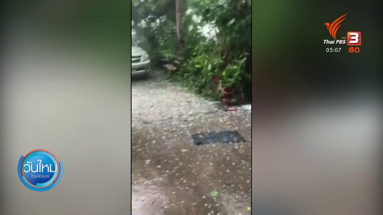 วันใหม่  ไทยพีบีเอส - พายุลูกเห็บพัดถล่มหลายอำเภอ จ.หนองบัวลำภู