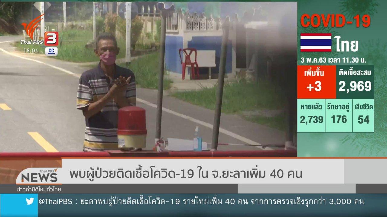 ข่าวค่ำ มิติใหม่ทั่วไทย - พบผู้ป่วยติดเชื้อโควิด-19 ใน จ.ยะลาเพิ่ม 40 คน