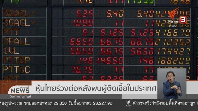 หุ้นไทยร่วงต่อ หลังพบผู้ติดเชื้อในประเทศ