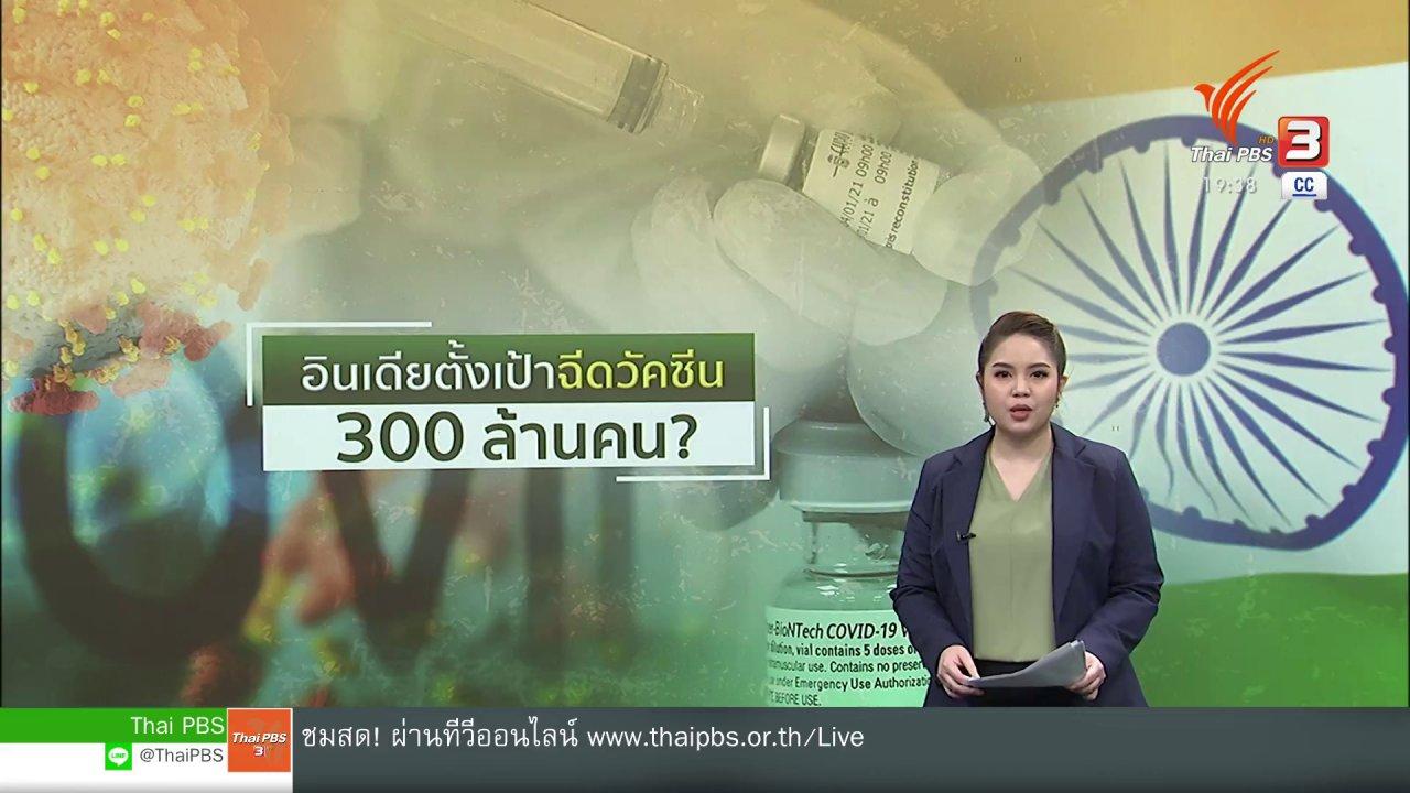 ข่าวค่ำ มิติใหม่ทั่วไทย - วิเคราะห์สถานการณ์ต่างประเทศ : อินเดียเล็งฉีดวัคซีน 300 ล้านคน ภายใน ก.ค.นี้