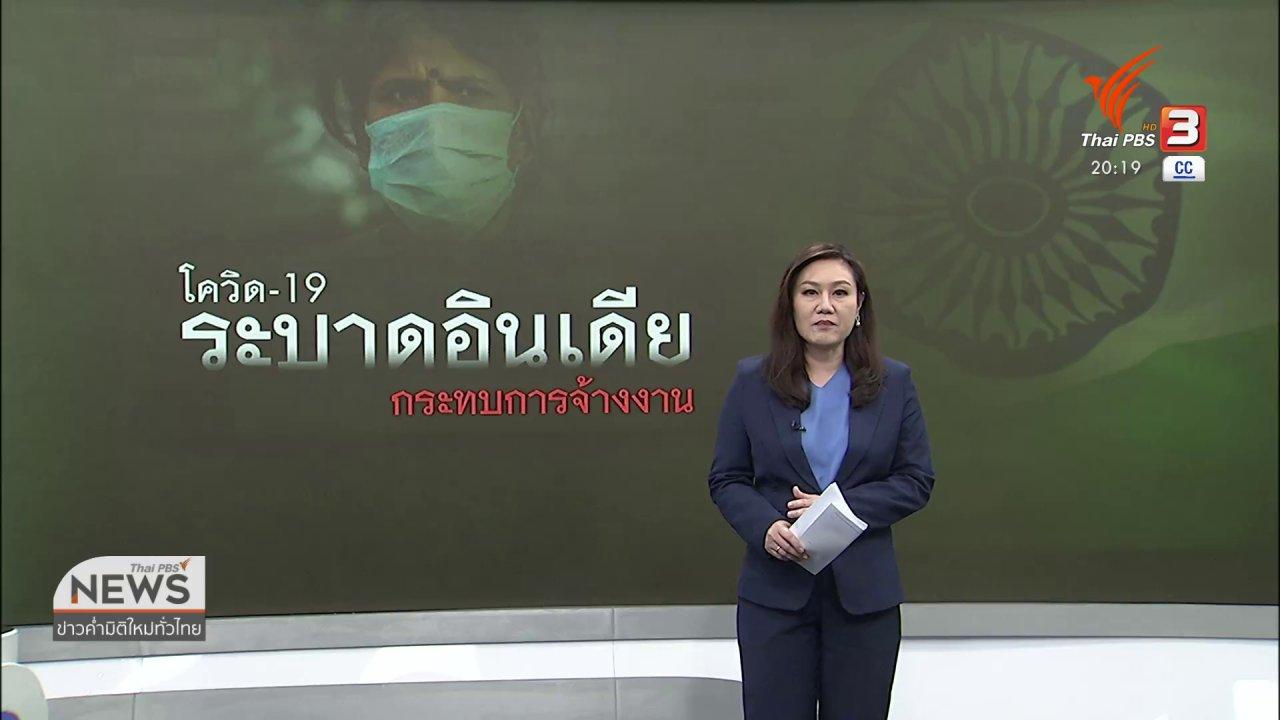 ข่าวค่ำ มิติใหม่ทั่วไทย - วิเคราะห์สถานการณ์ต่างประเทศ : โควิด-19 กระทบการจ้างงานในอินเดียขั้นวิกฤต