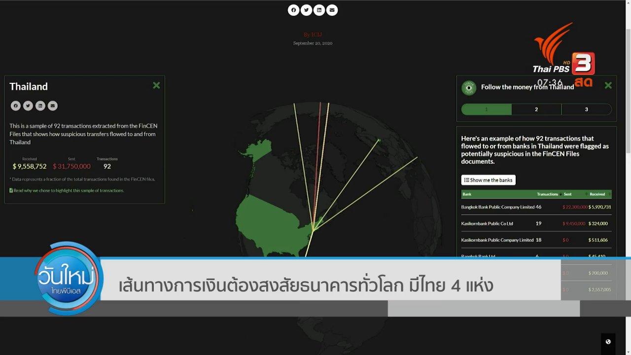 วันใหม่  ไทยพีบีเอส - ทันโลกกับ Thai PBS World : เส้นทางการเงินต้องสงสัยธนาคารทั่วโลก มีไทย 4 แห่ง