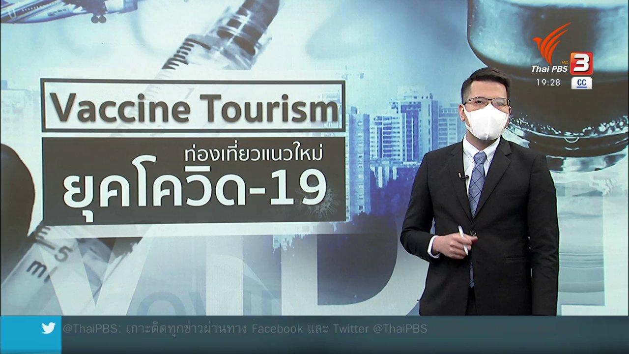 ข่าวค่ำ มิติใหม่ทั่วไทย - วิเคราะห์สถานการณ์ต่างประเทศ : ท่องเที่ยววัคซีน : การท่องเที่ยวแนวใหม่ยุคโควิด